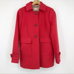 Banana Republic Pea Coat Jacket Red Button Front S